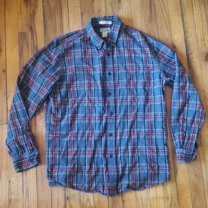 LL Bean mens large plaid flannel gray and red